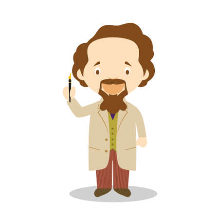 Charles Dickens cartoon character. Vector Illustration. Kids History Collection.
