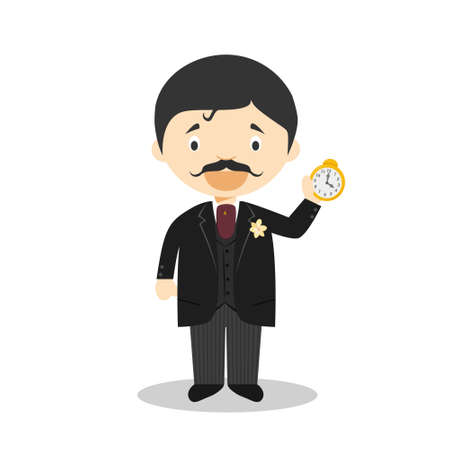 Marcel Proust cartoon character. Vector Illustration. Kids History Collection.