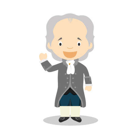 Johan Wolfgang von Goethe cartoon character. Vector Illustration. Kids History Collection.