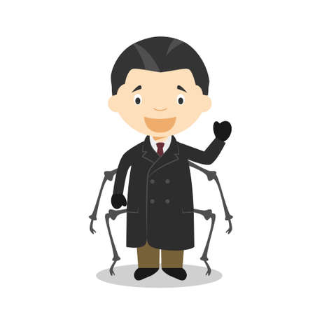 Franz Kafka cartoon character. Vector Illustration. Kids History Collection.