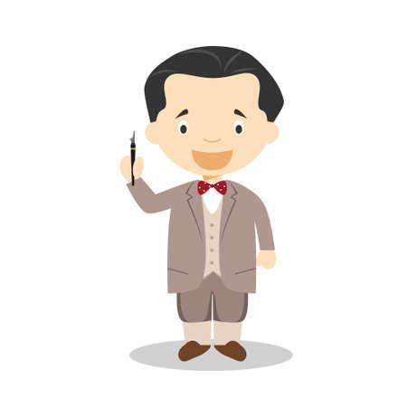 Federico Garcia Lorca cartoon character. Vector Illustration. Kids History Collection.