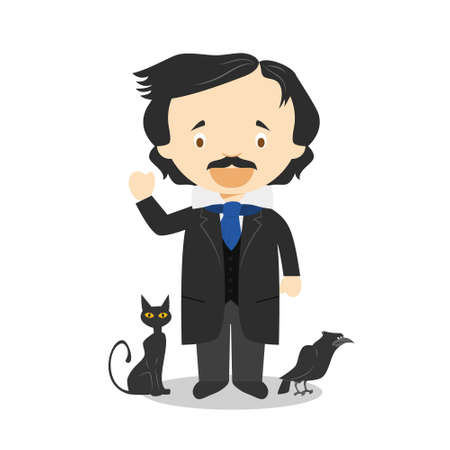 Edgar Allan Poe cartoon character. Vector Illustration. Kids History Collection. 向量圖像