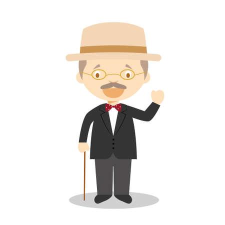 James Joyce cartoon character. Vector Illustration. Kids History Collection. 向量圖像