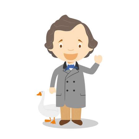 Hans Christian Andersen cartoon character. Vector Illustration. Kids History Collection.