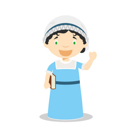 Jane Austen cartoon character. Vector Illustration. Kids History Collection. 向量圖像