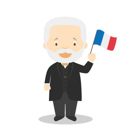 Victor Hugo cartoon character. Vector Illustration. Kids History Collection.