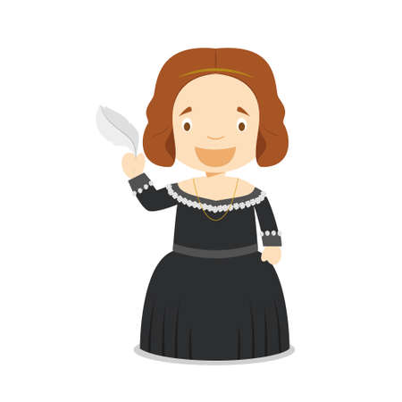 Mary Shelley cartoon character. Vector Illustration. Kids History Collection.