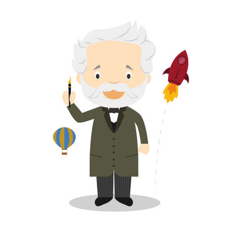 Jules Verne cartoon character. Vector Illustration. Kids History Collection. 向量圖像
