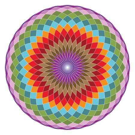 Colorful geometrical figure. Sacred Geometry Torus Yantra or Hypnotic Eye vector illustration Vettoriali