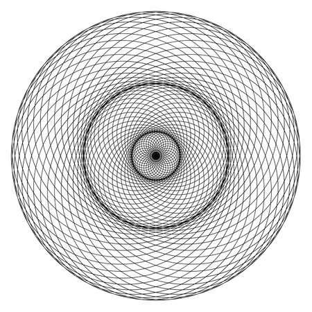 Geometrical figure. Sacred Geometry Torus Yantra or Hypnotic Eye development vector illustration Vettoriali
