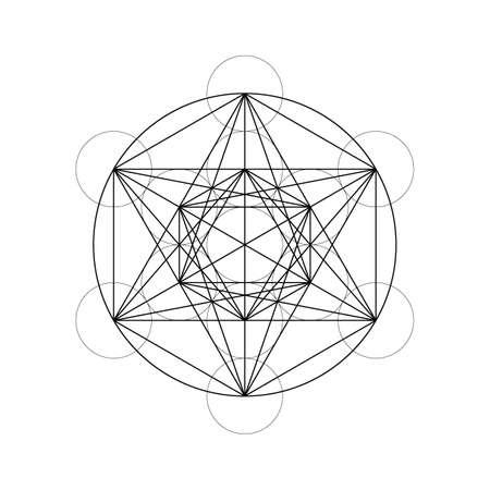 Geometrical figures. Sacred Geometry Davids Star and Metatrons Cube vector illustration Ilustração