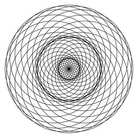 Geometrical figure. Sacred Geometry Torus Yantra or Hypnotic Eye development vector illustration Ilustração