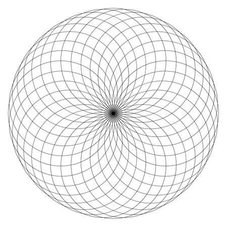 Geometrical figure on black and white. Sacred Geometry Torus Yantra or Hypnotic Eye vector illustration Ilustração