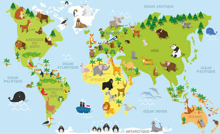 Funny cartoon world map in french with traditional animals of all the continents and oceans. Vector illustration for preschool education and kids design