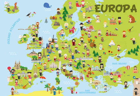 Funny cartoon map of Europe in Spanish with childrens of different nationalities, representative monuments, animals and objects of all the countries. Vector illustration for preschool education and kids design.