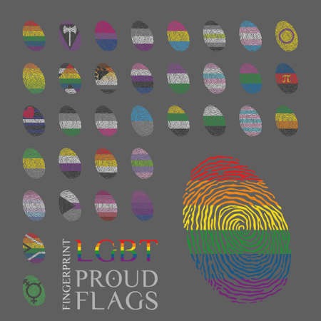 Set of 34 fingerprints with the LGBT, sexual and gender tendencies pride flags Vector Illustration
