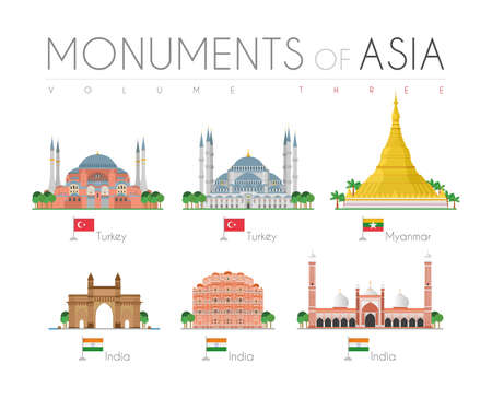 Monuments of Asia in cartoon style Volume 3: Hagia   and Blue Mosque (Turkey), Shwedagon Pagoda (Myanmar), Gate of India, Hawa Mahal and Jama Masjid Mosque (India). Vector illustration