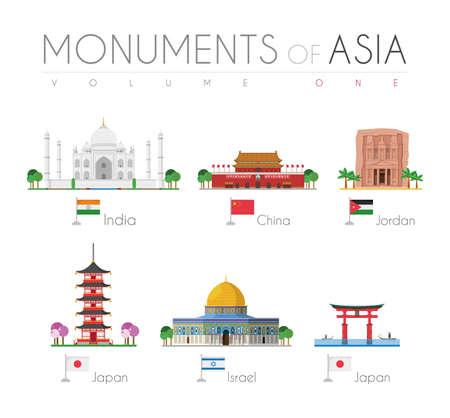 Monuments of Asia in cartoon style Volume 1: Taj Mahal (India), Forbidden City (China), Petra (Jordan), Gojunoto Pagoda (Japan), Dome of the Rock (Israel) and Miyamina Torii Gate (Japan). Vector illustration