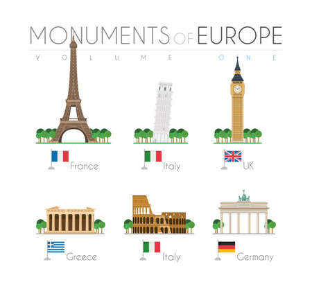 Monuments of Europe in cartoon style Volume 1: Eiffel Tower (France), Pisa Leaning Tower (Italy), Big Ben (UK), Parthenon (Greece), Colosseum (Italy) and Brandenburg Gate (Germany). Vector illustration Stock Illustratie