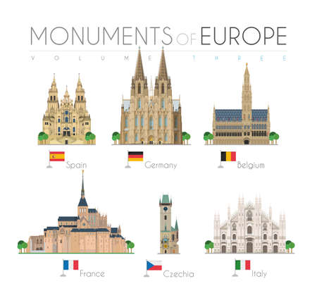 Monuments of Europe in cartoon style Volume 3: Santiago de Compostela Cathedral (Spain), Cologne Cathedral (Germany), Brussels Town Hall (Belgium), Saint Michel (France), Astronomical Clock Tower (Czech Rep) and Duomo Milan (Italy). Vector illustration