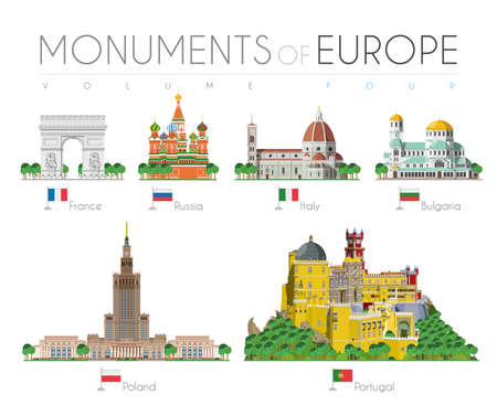 Monuments of Europe in cartoon style Volume 4: Arch of Triumph (France), Saint Basils Cathedral (Russia), Santa Maria dei Fiore (Italy), Alexander Nevsky Cathedral (Bulgaria), Palace of Culture and Science (Poland) and Palace of Sintra (Portugal). Vector illustration