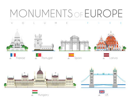 Monuments of Europe in cartoon style Volume 5: Sacre Coeur (France), Belem Tower (Portugal), Alcala Gate (Spain), Blackheads House (Latvia), Hungarian Parliament (Hungary) and Tower Bridge (UK). Vector illustration Stock Illustratie
