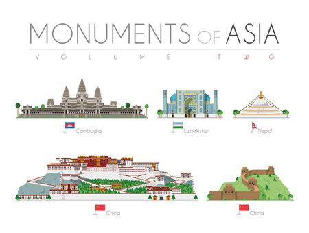 Monuments of Asia in cartoon style Volume 2: Angkor Bat (Cambodia), Ragastan Samrakand (Uzbekistan), Boudhanath Stupa (Nepal), Potala Palace and Great Wall (China). Vector illustration Stock Illustratie