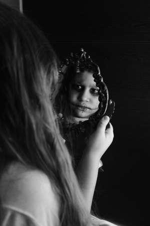 mirror: a creepy mirror reflection Stock Photo