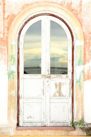 fanlight: Old wood door in thailand