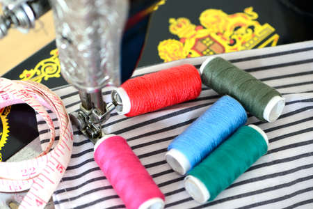 stitchwork: sewing process in the phase of overstitching