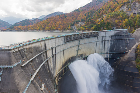 japan sky: Kurobe Dam, Japan Alp, Japan Stock Photo