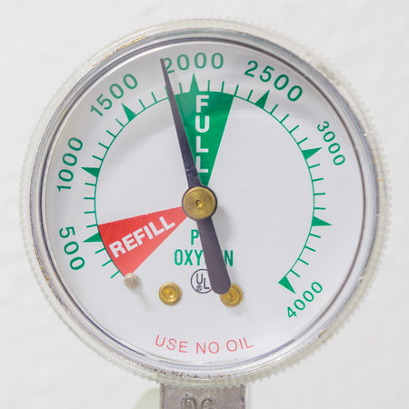gauges: Full Oxygen Tank and Gauges in hospital.
