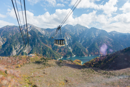 Cable car at Tateyama Kurobe Alpine Route, Japan Imagens