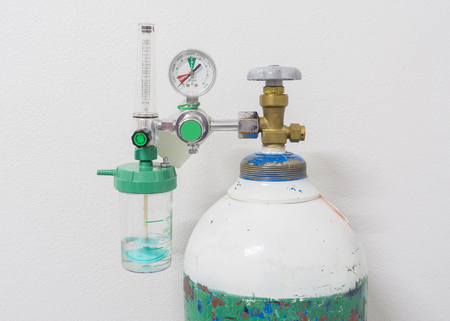 gauges: Oxygen Tank and Gauges in hospital.