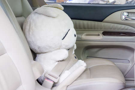 buckled: Safety first : doll buckled up with seatbelt inside the car.