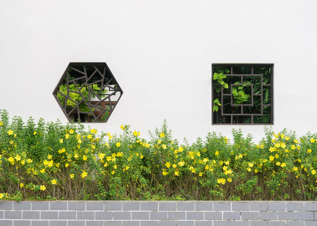 chinese courtyard: Chinese style courtyard wall with shaped form window.
