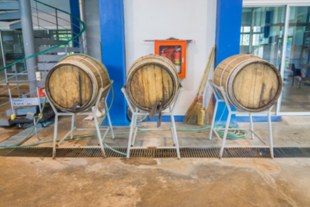 oak barrel: blurred background of old oak barrel