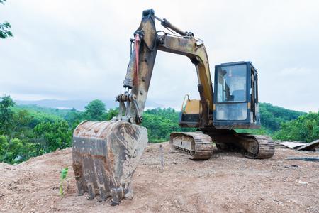 backhoe loader: Old loader excavator machine,backhoe. Stock Photo