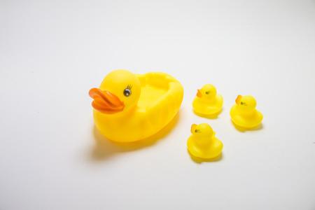 pato de hule: Madre amarillo y el beb� patos pato de goma en el fondo blanco