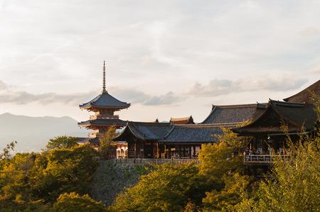 Kiyomizu-Dera is a Buddhist temple in Kyoto, Japan,warm light.
