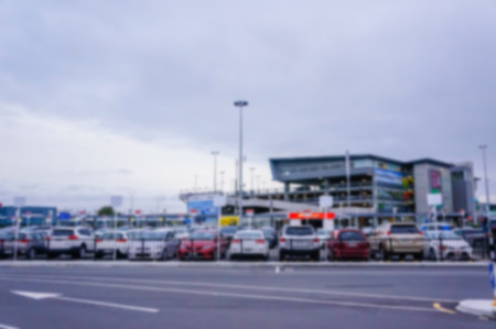 blurred background of Christchurch Airport in Christchurch, New Zealand.