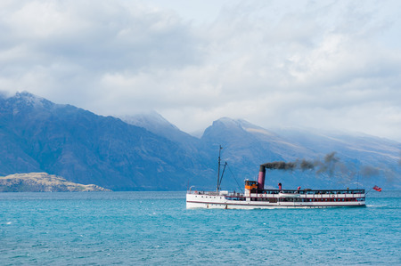 Steamer floating on the lake near Queenstown,Southern New Zealand.