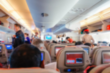 Blurred background of  interior aircraft , luggage cabin .