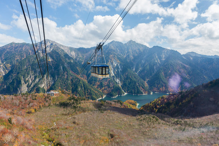 ropeway: Cable car at Tateyama Kurobe Alpine Route, Japan,focus in cable. Stock Photo