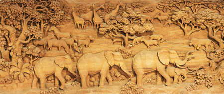thai decor: Carved Thai elephant on the wood frame Stock Photo