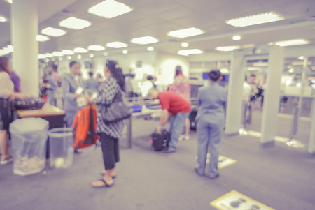 x ray equipment: blurred  background of Security Checkpoint - Body and Luggage Scan Machine ,Security body scan- Airport Check In,vintage color Stock Photo