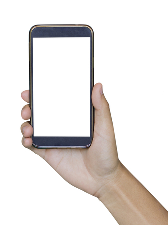 Two Hand holding smart phone isolated on white background,Isolated male hand holding a phone with white screen