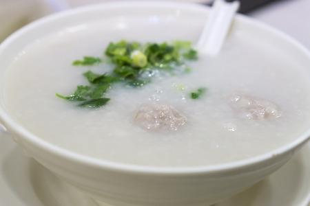 maca: Porridge, eggs, liver, pork, pork chop,Hong kong food Stock Photo