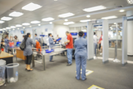 airport security: blurred  background of Security Checkpoint - Body and Luggage Scan Machine ,Security body scan- Airport Check In,vintage color Stock Photo