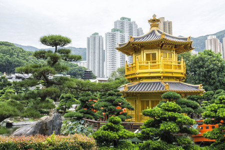 absolute: The Golden Pavilion of Perfection in Nan Lian Garden, landscaped Chinese garden of classical elegance based,Chi Lin Nunnery, Hong Kong Stock Photo